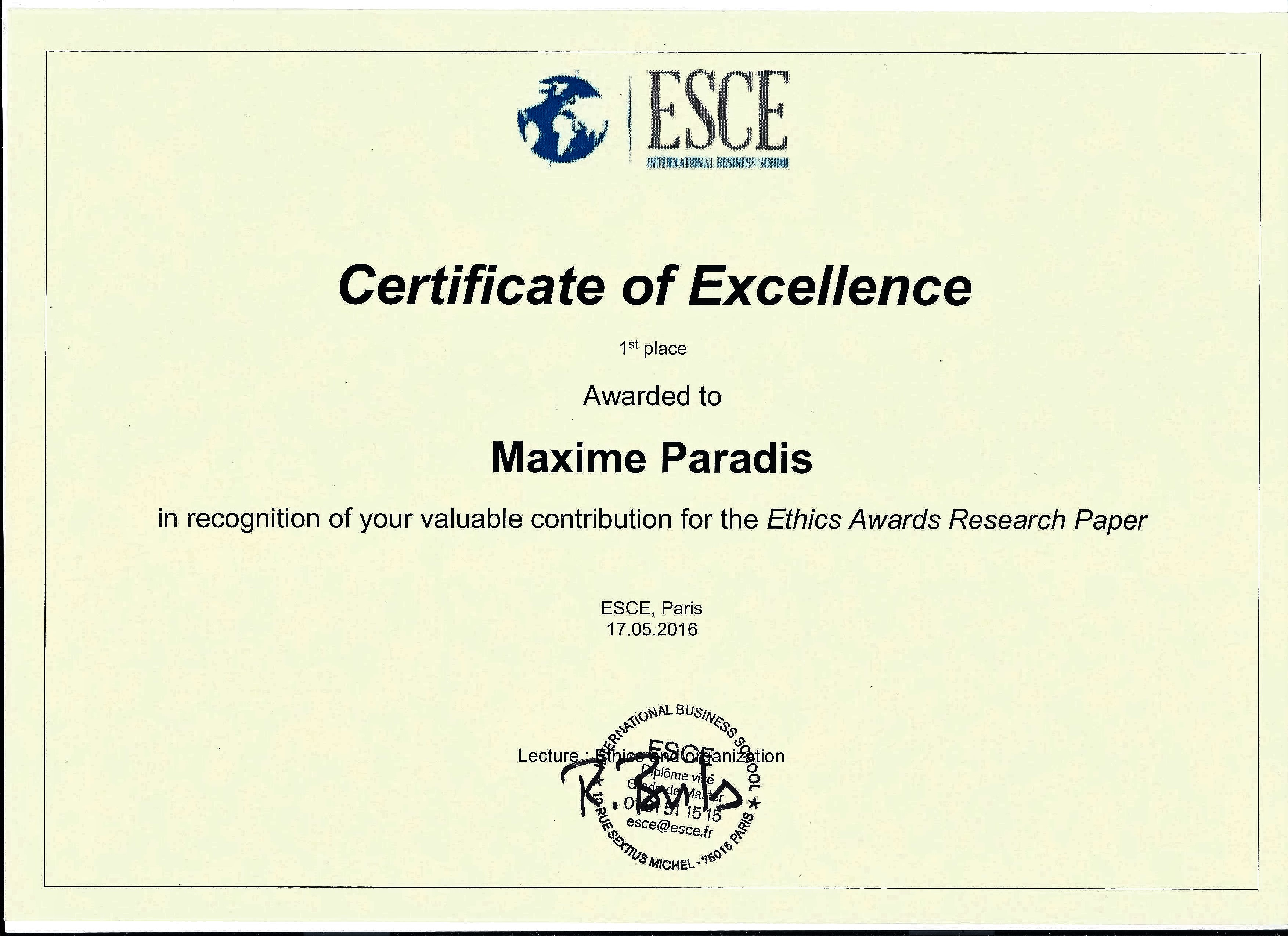 certificate of excellence resume maxime paradis